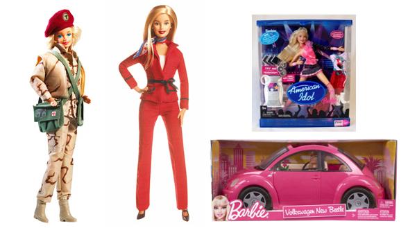 Barbie Médica das Forças Armadas, Barbie Candidata à Presidência dos EUA, Barbie American Idol e New Beetle da Barbie